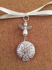 Bridal Bouquet Charm Angel Filigree Round Photo Locket Handmade Swarovski Pearls