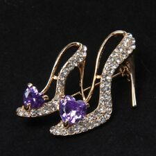 Hot Crystal Rhinestone Broaches High Heeled Shoes Brooch Pins Party Accessory v