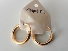 BELLE BOUCLE D'OREILLE CREOLE PLAQUE OR VINTAGE 80 NEUF/NEW EARRINGS GOLD PLATED