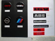 10 pins und Aufkleber: 16V, GSI, Opel, BMW M, RS, GTI, ABS, Bleifrei,Katalysator