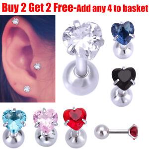 Surgical Steel Heart Crystal Helix Tragus Stud Bar Cartilage Daith Stud Earring