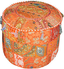 Orange Pouf ottomans round tufted ottoman Vintage Patch work Round pouffe Covers