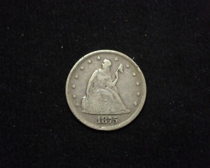 HS&C: 1875 Liberty Seated Twenty Cents VG/F - US Coin