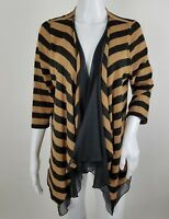 Worthington Womens Cardigan Size Medium Striped Open Front Flyaway 3/4 Sleeve
