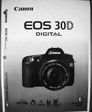 Canon Eos 30D Digital Camera User Instruction Guide Manual