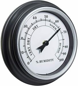 9 Inches Retro Rustic Home Decor Hygrometer Analog with Arabic Numerals (Silver)
