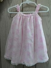 Heirlooms infant girls 6/9M pink floral lace overlay dress