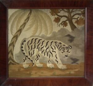 Victorian Woolwork Embroidered Picture of a Tiger