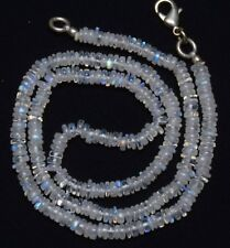 """NATURAL GEMSTONE BLUE FIRE MOONSTONE 5MM RONDELLE HEISHI BEADS 17"""" NECKLACE"""