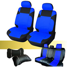 PU Leather Set Front & Rear Car Seat Covers Cushion to Ford 59255 Bk/Blue
