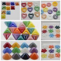 Craft DIY Mixed Color Flatback Cabochon Ceramic Glass Tile Various Shape Flower