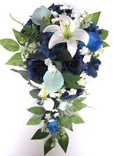 Wedding Bouquet 17 piece package Bridal set Silk Flower NAVY BLUE Calla LILY