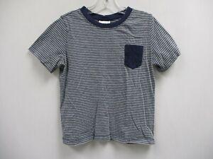 HANNA ANDERSSON Boys Navy Blue & Gray Striped Short Sleeve Tee Shirt Size 6/7