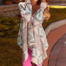 Fashion Women Knitted Cardigan Long Sleeve Print Irregular Sexy Jacket Cardigan&