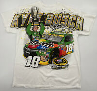 Kyle Busch 2015 Sprint Cup Championship All Over Print White T-Shirt Size Large