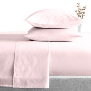 "600 TC 100%Egyptian Cotton Luxury Soft 4 Pc Sheet Set Pink Solid 15"" Deep Pocket"