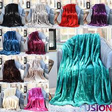 Luxury Faux Fur Mink Throw Soft Warm Fleece Blanket Double King Single Sofa Bed