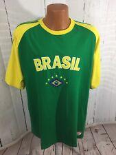 Brasil Brazil Futbol Soccer Green Embroidered Short Sleeve T Shirt 2XL