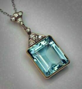 3.00 Ct Emerald Cut Aquamarine Pendant For Women's 14k White Gold Finish