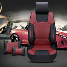 Comfortable Microfiber Leather 5-Seat Car Seat Cover Protector Cushion burgundy