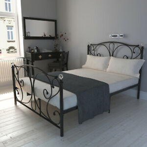 Crystal Finials Metal Iron Bed Frame 4ft6 Double Bedroom Furniture with Mattress