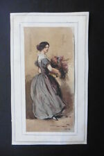 FRENCH SCHOOL 19thC - STREETSCENE - A FLOWER GIRL - SUBTILE WATERCOLOR