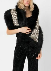 "Pia Rossini Corine Pewter Faux Fur Sequin Shawl Wrap New Black 55"" x 13"""