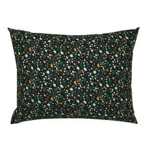 Terrazzo Black Green Mint Gold Stone Marble Pillow Sham by Roostery