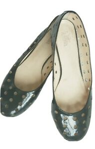 Wittner Black Patent Leather Flats w cut outs Size 8.5.