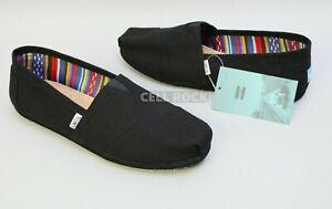 Toms Mens SHOES Classic Black CANVAS Casual ESPADRILLE SLIP-ON Size 9.5