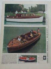 1937 Chris Craft Cruiser Runabout utility race boat vintage color ad