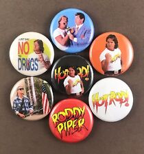 """Rowdy Roddy Piper 1"""" Pin Button Lot Classic Wrestler Icon They Live Hot Rod"""