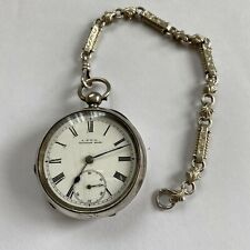 Antique 1895 Sterling Solid Silver 14s Waltham Mass Pocket Watch And Guard Chain