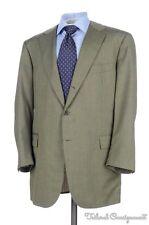 LUCIANO BARBERA SARTORIALE Green Twill 100% Wool Jacket Pants SUIT - 50 L