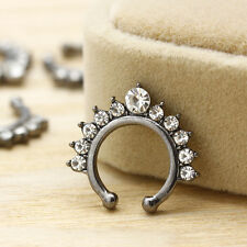Fashion Cool Fake Septum Clicker Nose Ring Non Piercing Clip On Jewelry CZ A+++