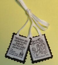 """Traditional Catholic 100% Brown Wool  """"Our Lady of MT. Carmel""""  Scapular White"""
