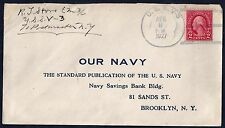 US NAVY 1927 SUBMARINE USS V3 POSTED COVER TO BROOKLYN NY PLUS PHOTO & CLIPPINGS