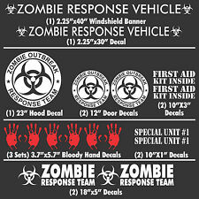 Zombie Outbreak Response Team 17 Piece White Vehicle Decal Set Kit Car Truck New