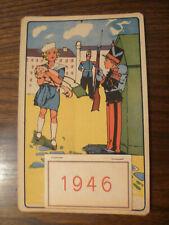 Calendrier 1946  décor enfants , militaire , soldat