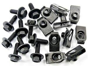 Ford Body Bolts & U-nut Clips- M6-1.0 x 20mm Long- 10mm Hex- 20 pcs (10ea)- #150