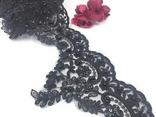 """Pearl Bridal Lace Trimming Embroidered Trim Black Floral Party  Edging 5.5"""""""