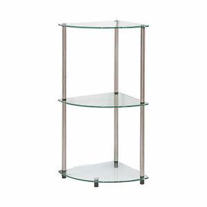 Convenience Concepts Designs2Go Classic Glass 3 Tier Corner Shelf Accent Table