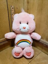 """Care Bears 13"""" Cheer Bear Plush Toy Pink Fur With a Rainbow Belly Badge"""