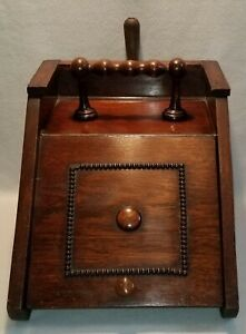 19th C. English Victorian Oak Coal Scuttle With Original Metal Insert & Shovel