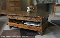 Country Cottage Style Coffee Table Medium Oak Stain with Under Shelf Storage