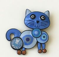 Adorable  artistic  Cat large  Brooch pin enamel on Metal