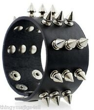 PUNK LEATHER BLACK SPIKED WRISTBAND WRIST STRAP BAND STUDDED SPIKE BRACELET A26
