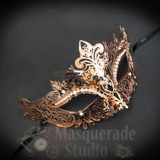 Womens Luxury Filigree Metal Laser-Cut Venetian Masquerade Ball Mask [Rose Gold]