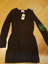NWT Little Marcel black sweater dress with belt and elbow patch size S