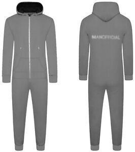 Unisex Adults Zip Hood Plain Loungewear 1Onesie Cosy Warm Jumpsuit Nightwear